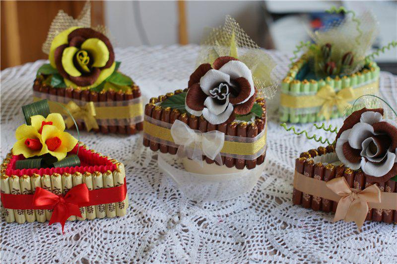 Как сделать кусочек тортика из конфет